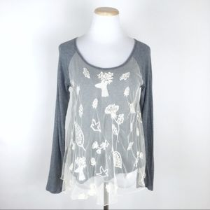 Anthropologie Eloise sheer tunic top Small